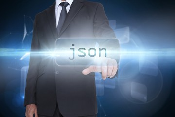 Json against glowing technological background
