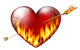 .fiery heart pierced by an arrow of fire, with sash