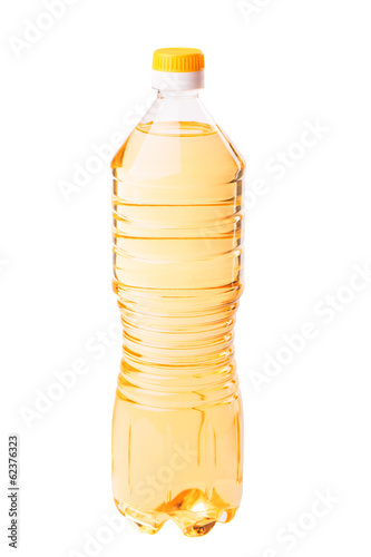 Bottle of sunflower oil isolated on white