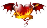 fiery heart with diabolical elements with arrow of fire and sash