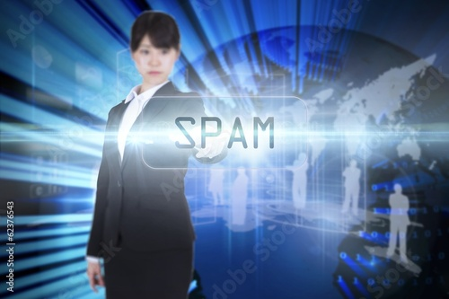 Spam against digital earth background