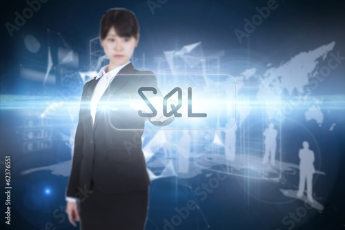 Sql against glowing technological background