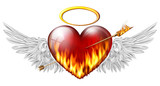 .fiery heart with angel wings pierced by an arrow of fire
