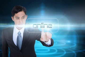 Online against futuristic shiny black background