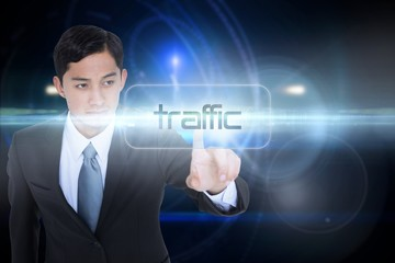 Traffic against futuristic black background with circles