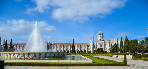Jeronimos monastery in Lisbon with fountain