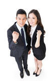 Cheerful business man and woman