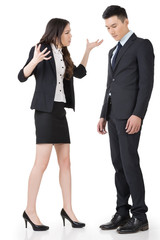 Angry business woman yelling to a man