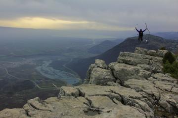 zirvede dağcı sevinci