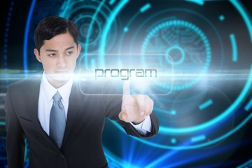 Program against futuristic technological background