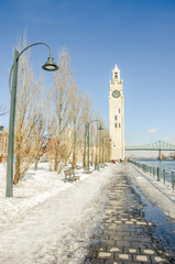 Clock Tower Quay Covered in Snow, Montreal