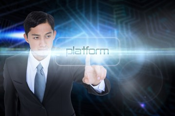 Platform against futuristic black and blue background