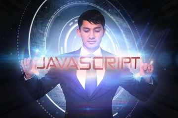 Javascript against glowing swirl on black background