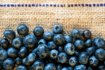 blueberries on burlap background