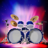 Abstract music dark background with drum kit