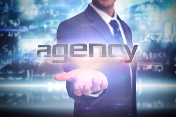 Agency against math equation background