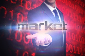 Market against shiny red binary code on black background