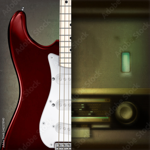 Abstract background with electric guitar and retro radio
