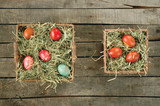 Top view of baskets with Easter eggs