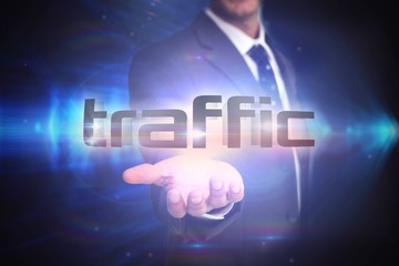 Traffic against shiny arrow lines on black background
