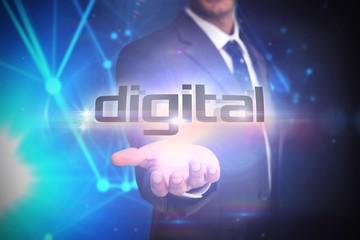 Digital against futuristic black background
