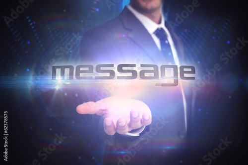 Message against futuristic black background
