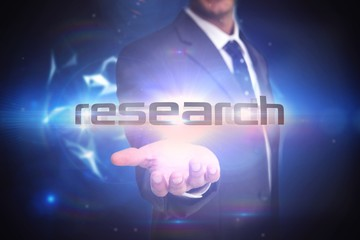 Research against glowing technological background