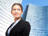 Smiling business woman portrait outdoor