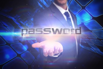 Password against room of shiny blue squares