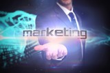 Marketing against abstract blue glowing black background