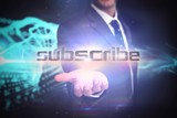 Subscribe against abstract blue glowing black background