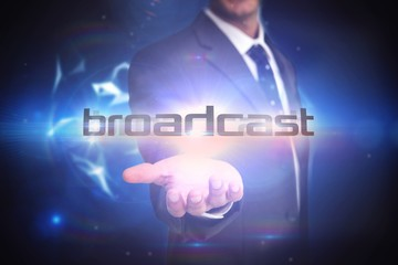 Broadcast against glowing technological background