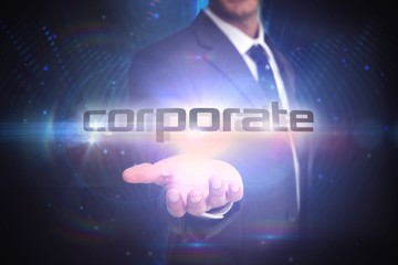 Corporate against futuristic black background