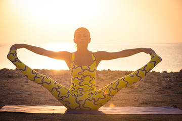 Yoga practice at sunrise