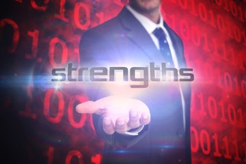 Strengths against shiny red binary code on black background