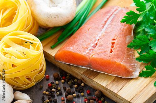 Ingredients for salmon pasta