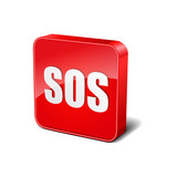 SOS 3d Rounded Corner Red Vector Icon Button