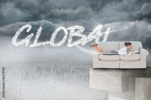 Global against balcony overlooking city