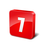 7 Number 3d Rounded Corner Red Vector Icon Button