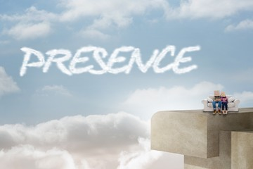 Presence against balcony and bright sky