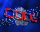 Code against fingerprint on digital blue background