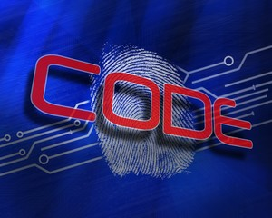 Code against fingerprint on digital blue background