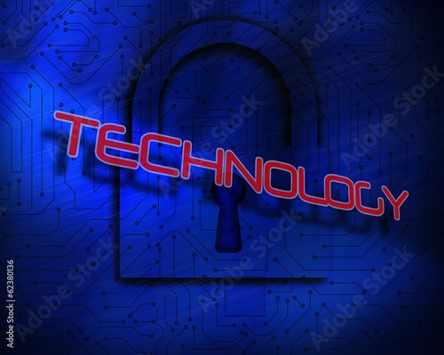 Technology against lock on digital background
