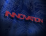 Innovation against blue technology background