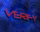 Verify against lock graphic on blue background