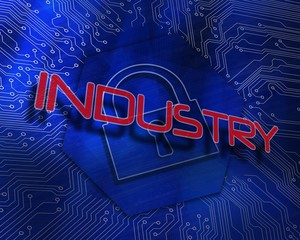 Industry against lock graphic on blue background