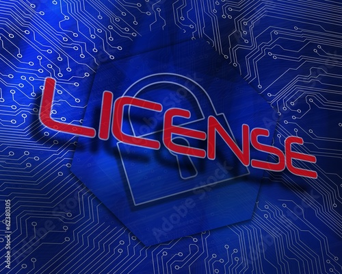 License against lock graphic on blue background