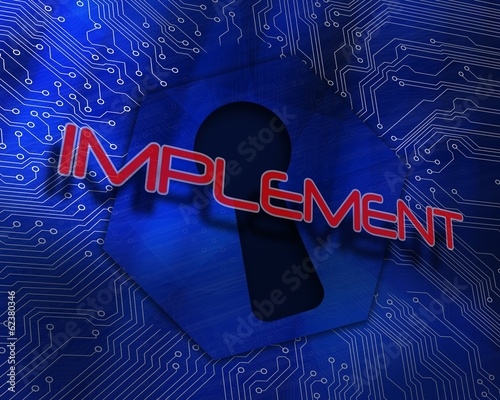 Implement against keyhole graphic on blue background