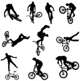 Set of bicycle riders, cyclists, Bike, BMX