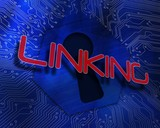 Linking against keyhole graphic on blue background